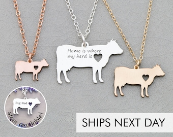 Cow Necklace • Cattle Jewelry Personalized Pet Cow Jewelry • Farm Animal Lover Gift Funny Dairy Cow Gift • Farm Cattle Charm Cow • 4H