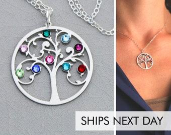 Family Tree Necklace • Birthstone Tree Pendant Gift Family Tree Jewelry Family Necklace Grandmother Gift Mom Birthstone