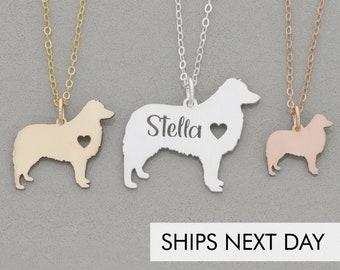 Aussie Dog Necklace • Australian Shepherd Gift Aussie • Personalized Pet Name New Dog Present • Custom Pet Memorial Dog Pendant Pet Charm