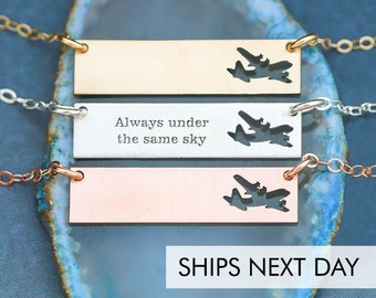 Military Deployment Gift • Airplane Air Force Gift Pilot Jewelry Military Necklace C-130 Always Under the Same Sky Military Wife Graduation