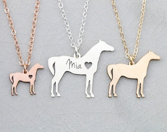 Personalized Horse Necklace • Pet Horse Jewelry • Engraved Pet Charm • Racing Horse Pendant Equestrian Gift Ideas Custom Pet Gift