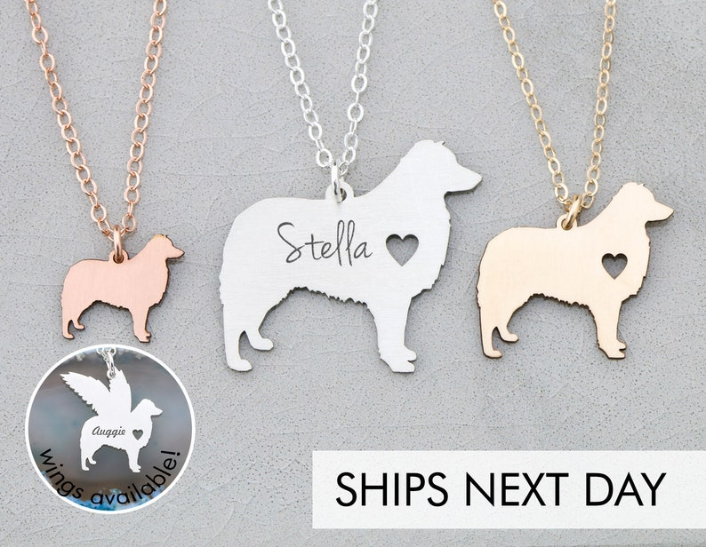 a375391024ce7 Aussie Dog Necklace • Australian Shepherd Gift Aussie • Personalized Pet  Name New Dog Present • Custom Pet Memorial Dog Pendant Pet Charm