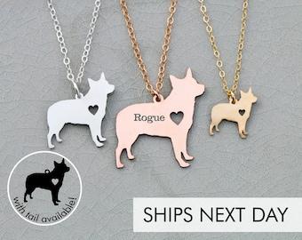 Australian Cattle Dog Necklace • Blue Heeler Red • Dog Jewelry • Pet Mom Gift • Custom Engraved Pet • Pet Loss Charm Pet Shelter Gift