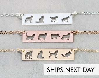 Custom Pet Jewelry Dog Necklace Pet Loss Gift • Pet Family Dog Lover Gift Cat Lover Personalized Pet Bar Necklace Unique Pet Gift