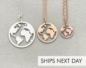 World Map Necklace • Globetrotter Necklace Graduation  • World Travel • Foreign Exchange Student Jewelry World Circle Wanderlust Gift