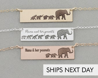 Elephant Mama Baby Bar Necklace • Mom Gift Grandma Funny Mother Present • Gift from Children Mother Child Jewelry • Baby Elephant