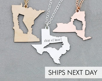 Best Friend Gift Girlfriend Necklace • Graduation Gift Going Away Gift Moving Long Distance Relationship Gift •Friendship Jewelry State Gift