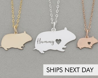 Hamster Necklace • Small Animal Pendant • Rodent Charm • Pet Gift • Personalized Present • Engraved Jewelry • Golden Syrian Hamster Dwarf
