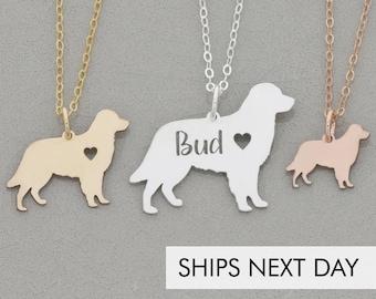 Golden Retriever Necklace • Dog Pendant Pet Charm • Dog Silver Charm Personalized Puppy Gift • Retriever Dog Engraved Pet Charm Unique Gift