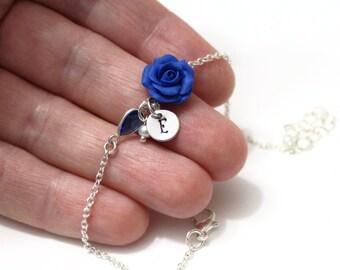 Blue Rose bracelet personnalisé du disque initial, Bracelet,bleu de demoiselle d'honneur Bijoux,Rose Bijoux,Bracelet de demoiselle d'honneur
