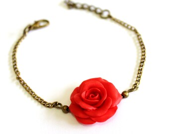 Red Rose Bracelet, Rose Bracelet, Red Bridesmaid Jewelry, Red Rose Jewelry, Summer Jewelry