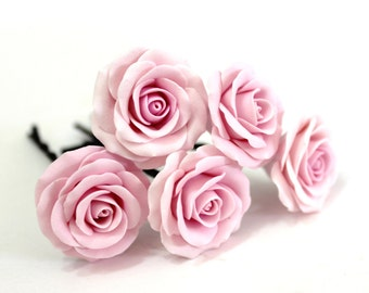 Pink rose, Bridal Hair Accessory, Bridal Pink Hair Flower, wedding hair - Set of