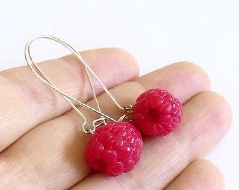 Raspberry Dangle Earrings, Raspberry Earrings, Raspberry Jewelry.
