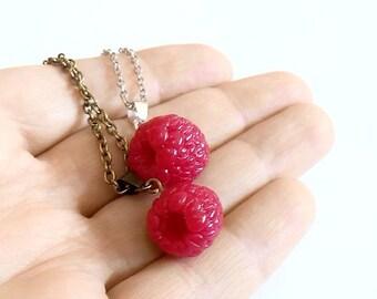 Raspberry Necklace, Raspberry Jewelry, Gifts, Red Raspberry Bridesmaid, Necklace, Bridesmaid Jewelry