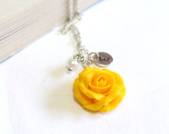 Yellow Rose Necklace, Yellow Pendant, Personalized Initial Disc Necklace, Rose Charm, Bridesmaid Necklace, Yellow Bridesmaid Jewelry