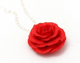 Red Rose Necklace - Rose Pendant, Rose Charm, Valentine, Love Necklace, Bridesmaid Necklace, Flower Girl Jewelry, Red Bridesmaid Jewelry