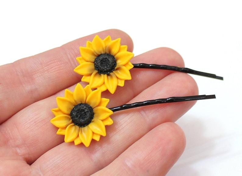 Yellow Flower Hair Pin Wedding Hair Flower Sunflower Hairpin Sunflower Hair Clip Summer Hair Accessories Sunflower Hairpin set