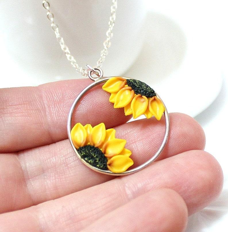 e5d5651c38b1 Girasol Collar Joyería girasol Regalos amarillo girasol