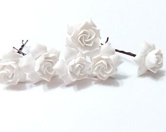 White gardenia hair flower Set of 6, white Gardenia Hair Clip, gardenia Hair pin, white Bridal Hair Flowers, gardenia, Wedding Hair Set of 6