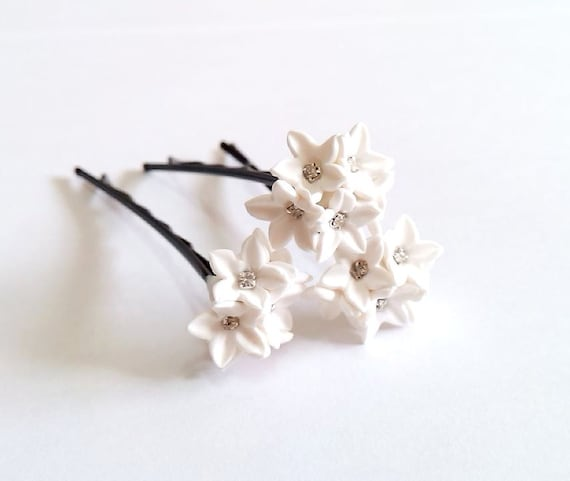 Small white flower hair clips white wedding flower hair etsy image 0 mightylinksfo