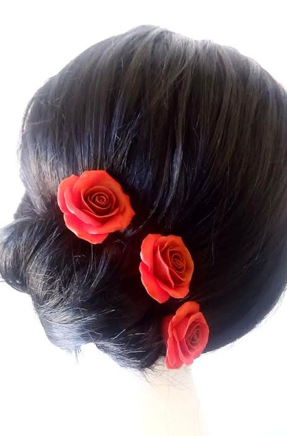 Red Roses Large Rose Wedding Hair Accessories Bohemian Etsy