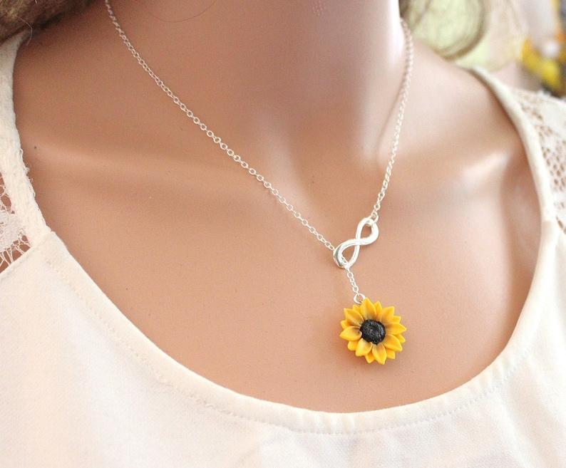 8a1e5efa47e0 Girasol infinito Lariat collar Dama de honor de girasol