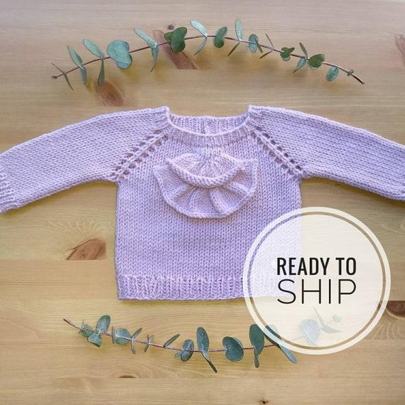 Bébé rose volante de 3-6 mois pull pull dentelle en laine   Etsy 3915adccc78