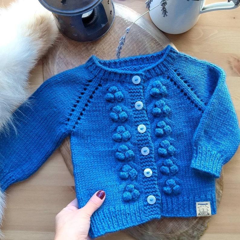 c4aa41842cab Bobble wool sweater for girls Hand knit popcorn cardigan