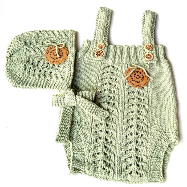 81e57a9a7e31 Knit cable romper for baby girl or boy Newborn lace jumpsuit
