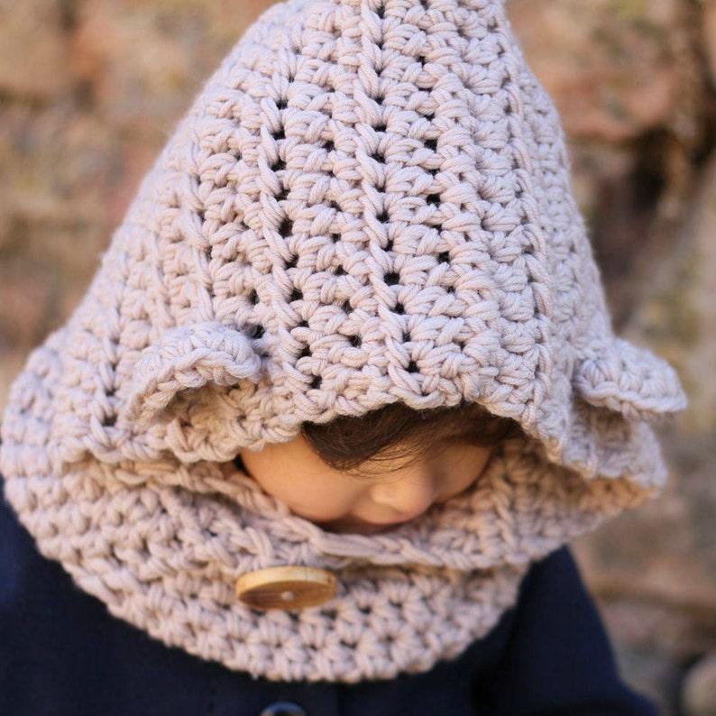 7d3c302c3eecc Capucha a crochet para niños y mamás Gorro de lana para