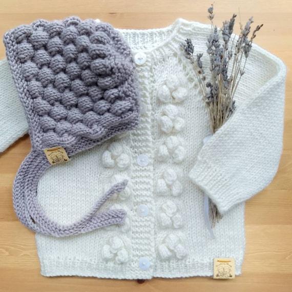 Maglione di lana Bubble per ragazze, a mano a maglia cardigan bobble in Off White, vestiti del bambino di Alpaca handknit, giacca in pizzo per neonato