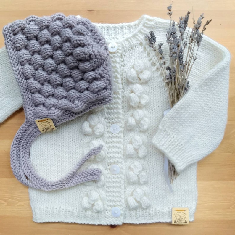 ed66030986bc Bubble wool sweater for girls Hand knit bobble cardigan in
