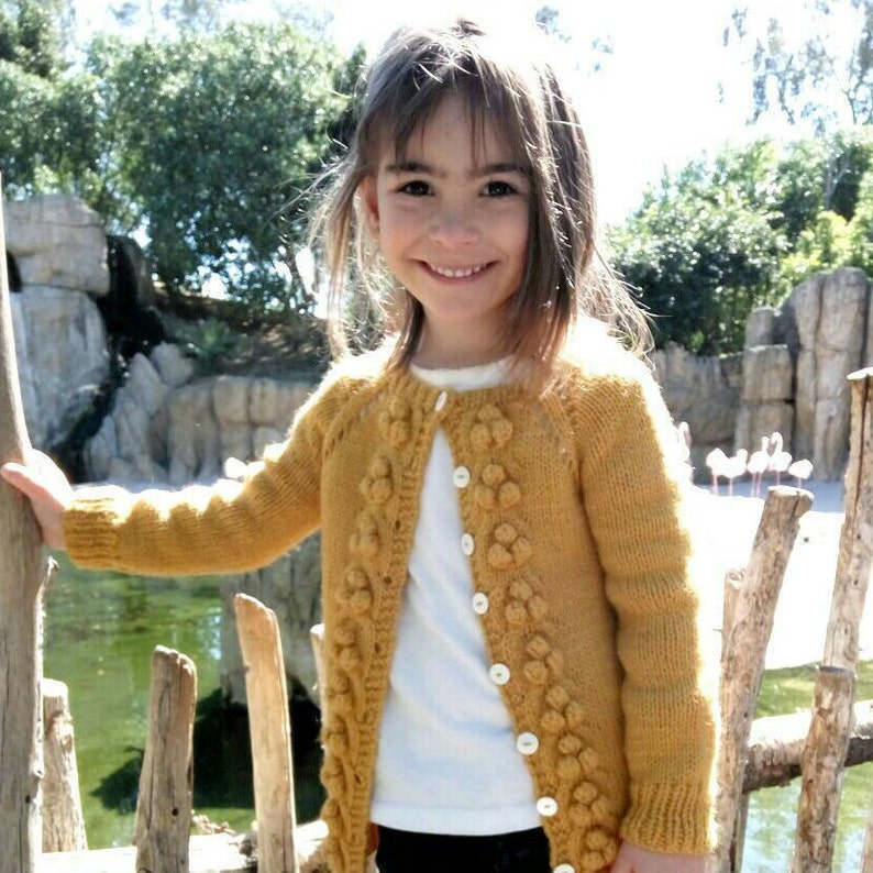 8a059454c259 Popcorn wool sweater for girls Hand knit bubble cardigan