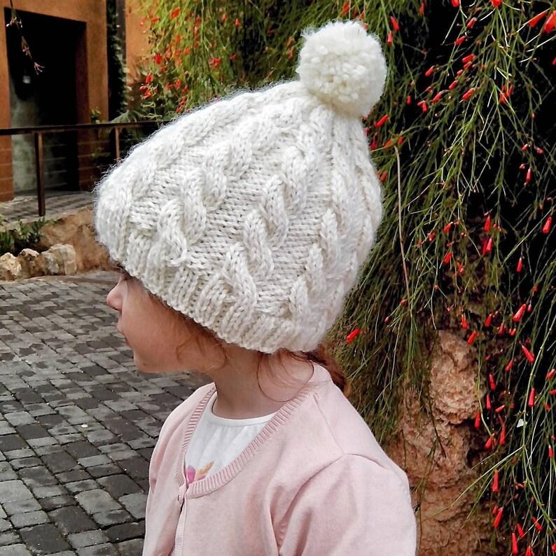 Gorro de lana con trenzas para la nieve Gorro con pompón para  04b9d9040bb