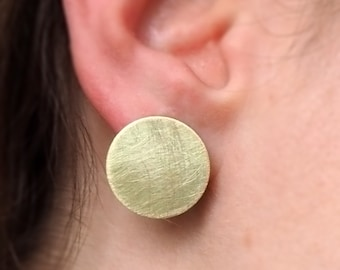 Golden brass disk earrings round with 925 Silver earrings gold tone frosted