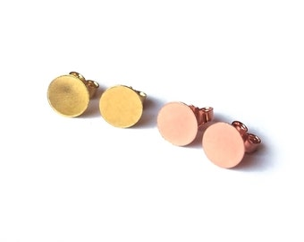 Rose gold earrings plate disc circle point around 925 Silver 585 transformation red gold or yellow gold 8 mm