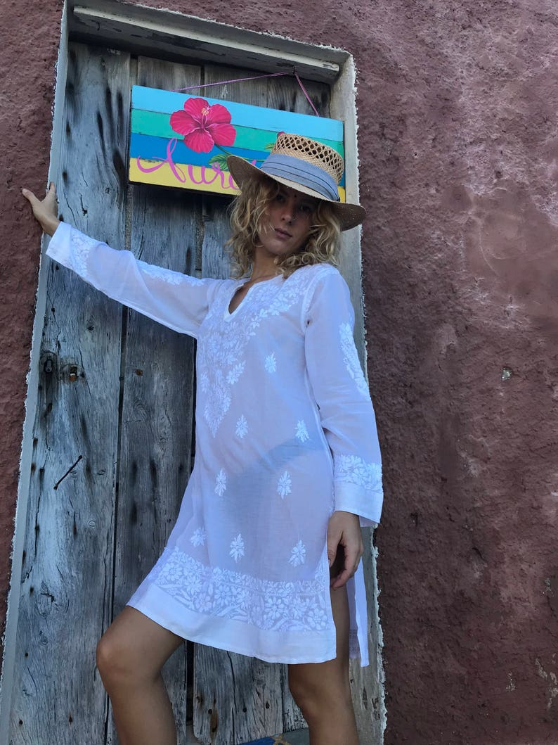 White muslin cotton blouse or tunica with amazing hand embroidery