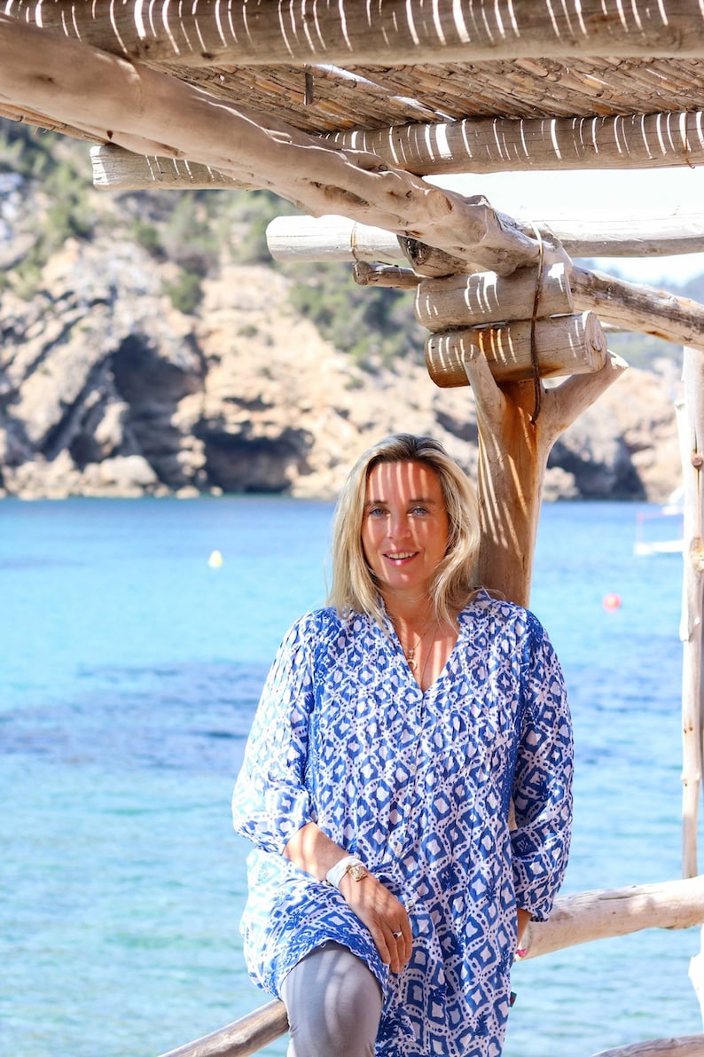 Blue ocean Ibiza Bohemian hand  block printed and embroidered blouse or tunica