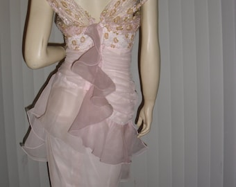 Couture ruched ruffled beaded soft pink chiffon dress @ Vintage50s60s70s