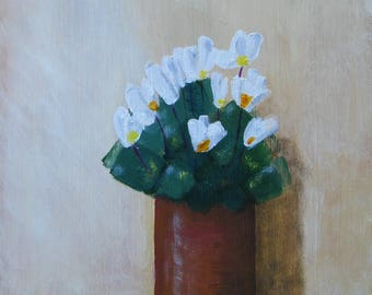 White flowers, original oil painting, small painting