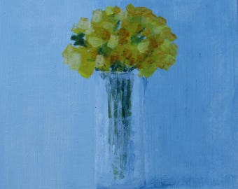 Bouquet yellow flowers, original oil painting, small painting.