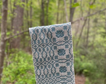 Winding Rose Woven Cloth***Brown/grey & teal wool cloth, table cloth, altar cloth, ceremonial tea cloth, handwoven