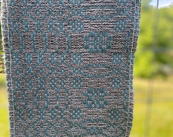 Tranquil Earth Woven Cloth***Brown & teal wool cloth, table cloth, altar cloth, ceremonial tea cloth, handwoven