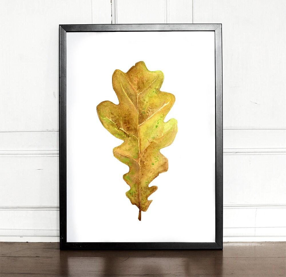 Oak leaf autumn leaf watercolor Art Print Giclee | Etsy