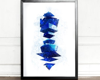 Neon Genesis Evangelion, Angel, Ramiel, watercolor illustration, giclee art print, anime print, wall decor