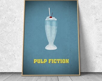 Pulp Fiction, Quentin Tarantino, alternative minimalist movie poster, giclee art print, A3