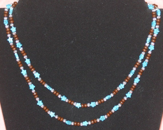 Seeing Stars Faux Imitation Turquoise Wood & Silver Beaded Necklace