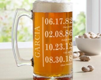 25 oz Custom Glass Beer Mug - Engraved Beer Mug - Personalized Beer Mug - Etched Glass Beer Mug - Fathers Day Mug