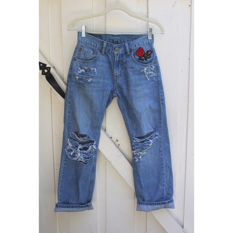custom blue or black jeans- choose your own style with patches, distressing  & brand! (highwaisted mom jeans, highwaisted levi, vintage)