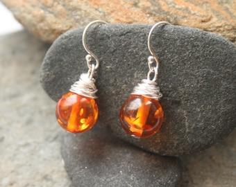 Amber earrings, wire wrapped earrings, Sterling silver earrings, nature lover gift, silver earrings